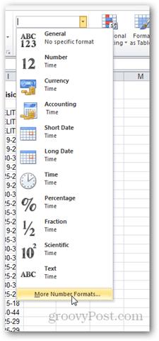 refresh number formatting in excel 2010