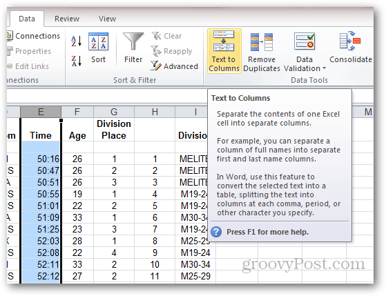 text to columns excel 2010
