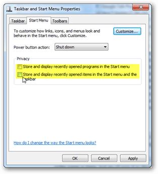 Windows 7 clear run history