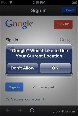 location data Google Now iOS