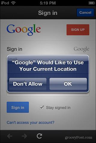 location data Google Now iOS