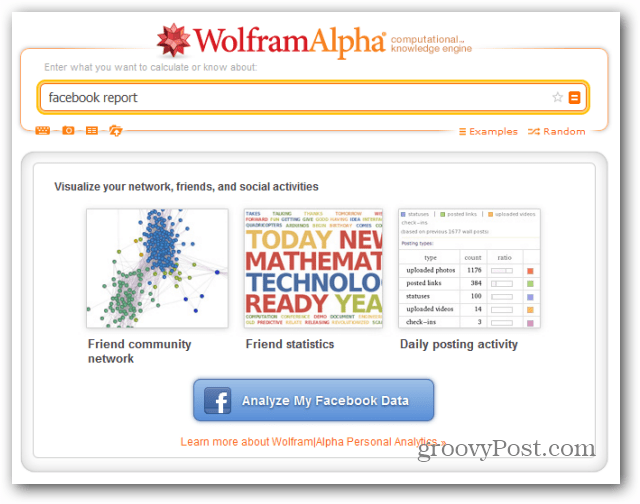 wolfram alpha facebook report analyze