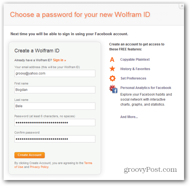 wolfram alpha facebook report create account
