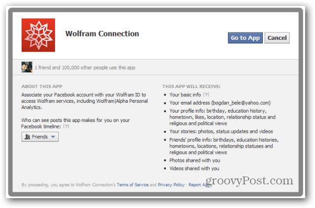 wolfram alpha facebook report facebook go to app