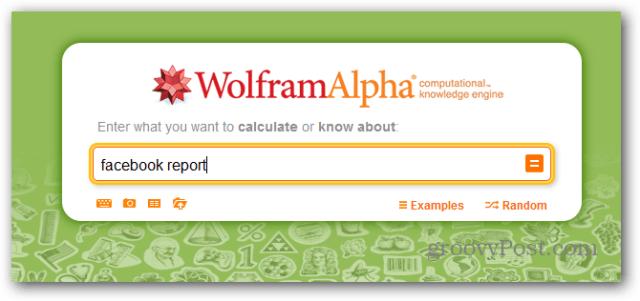 wolfram alpha facebook report