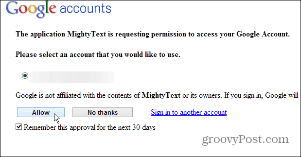 Authorize MightyText