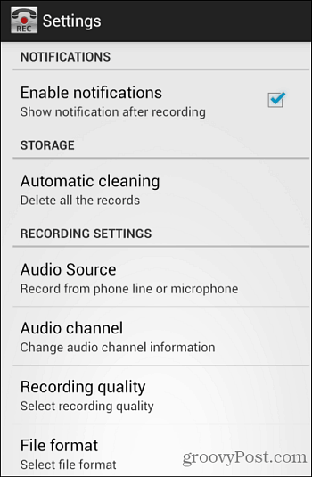 Call Recorder Settings