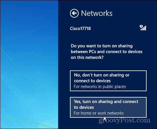 Enable Network Sharing