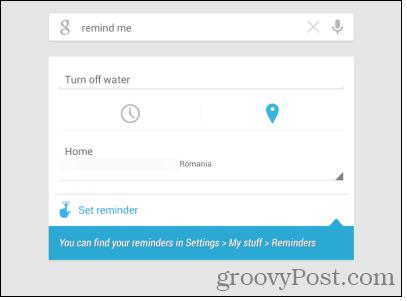 Google Now location reminder set