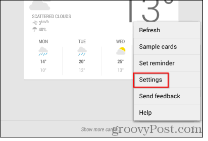 Google Now reminders settings