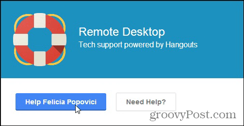Hangouts remote support help other person