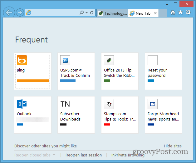 Internet Explorer Frequent Sites New Tab Page