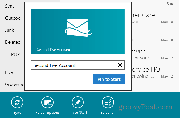 Pin email Account Tile