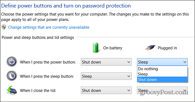 Set Physical Power Button Windows 8