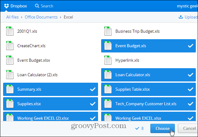 Select Files to Share