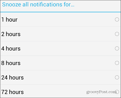 Snooze Notifications Time