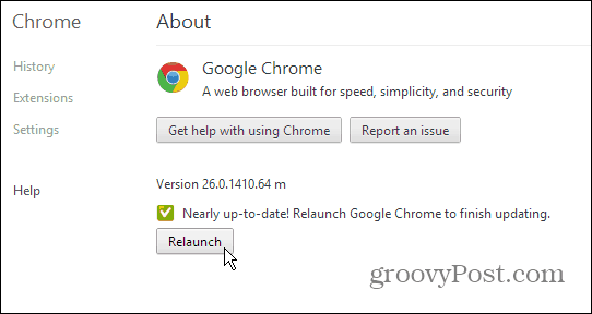 Google Chrome About Page - Update and Relaunch