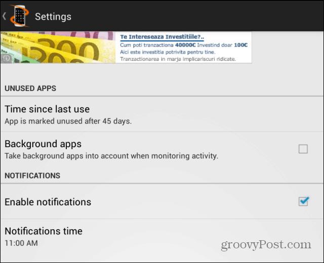 Useless App Remover settings