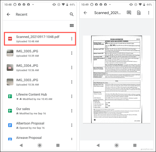 View your scan in Google Drive