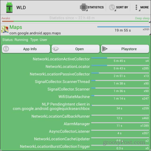 Wakelock App stats