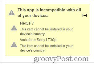 app incompatible country