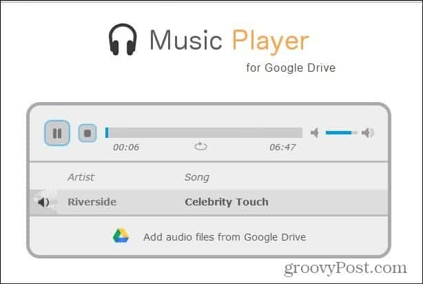 google drive mp3 player playing song