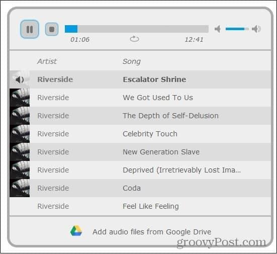 google drive mp3 player playlist