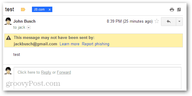 This message may not have ben sent by report phishing