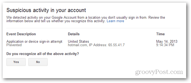 gmail suspicious activity in your account