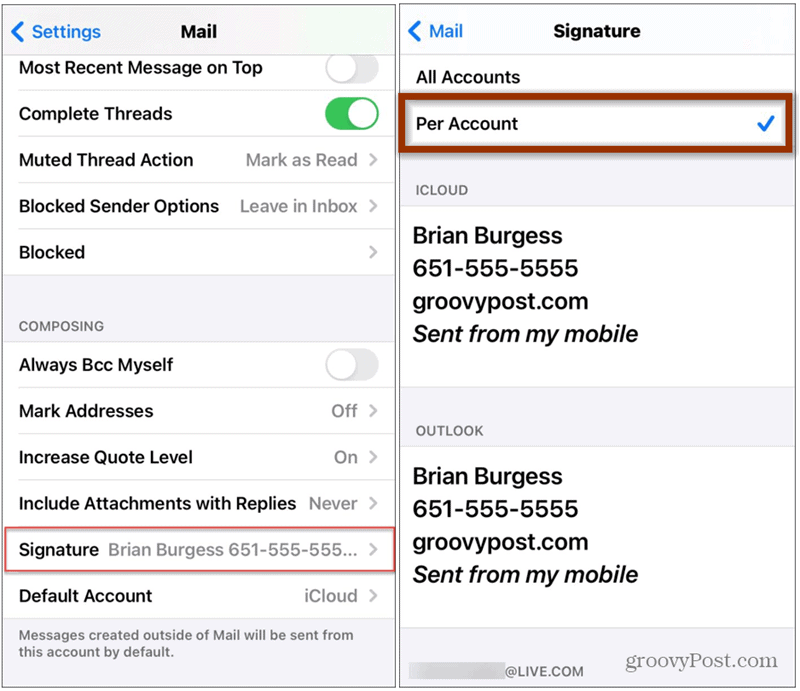 signatures iphone mail