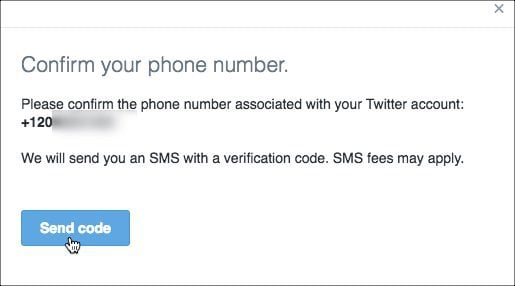 Twiiter Two Factor Confirm Phone