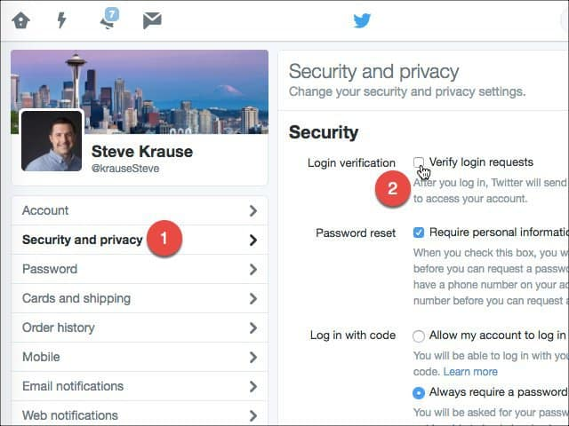 Enable Login Verification Twitter