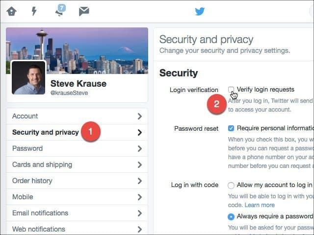Enable Login Verification Twitter
