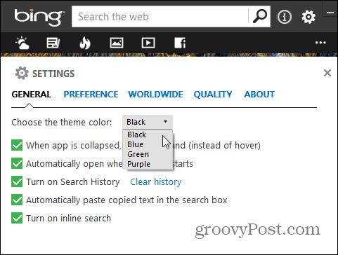Bing Settings