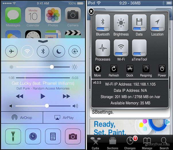 Control Center iOS 6 Jailbreak