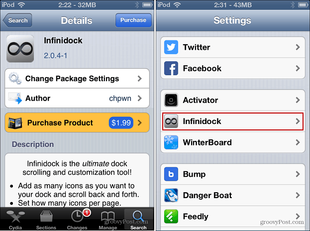 Infinidock Cydia Settings