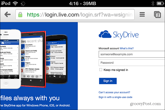 Log In To SkyDrive
