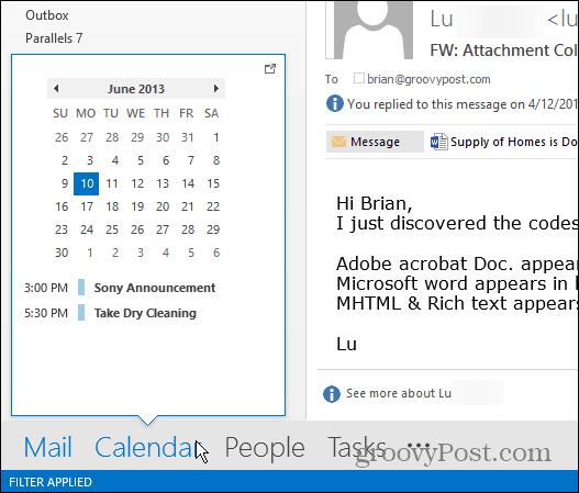 Outlook 2013 Calendar Peek