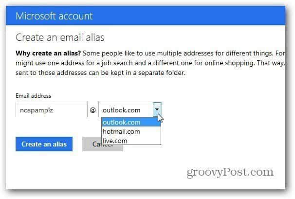 Outlook.com Alias Feature