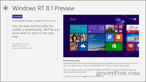 RT 8.1 Preview Windows Store