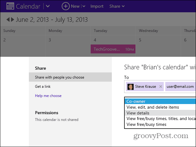 Share Calendar with Outlook Contacts