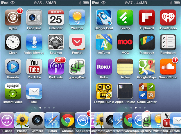 Six and 10 icons on iOS Dock