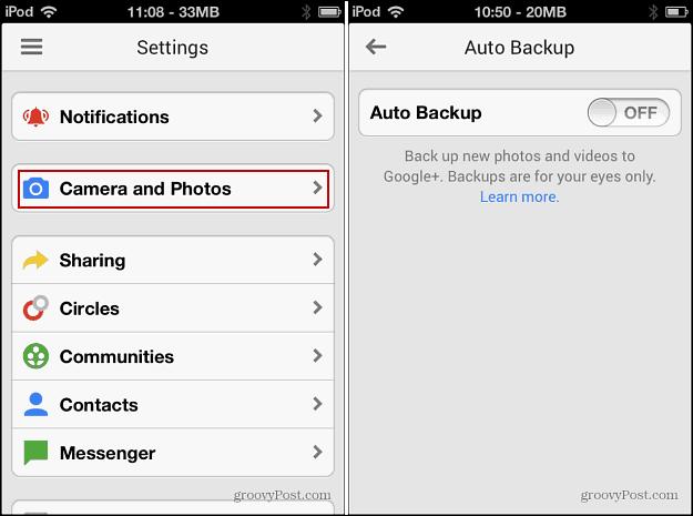 Turn off Auto Backup iOS