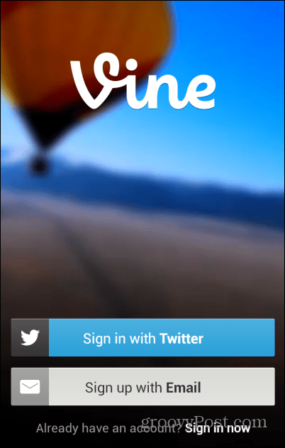 Vine Android sign in