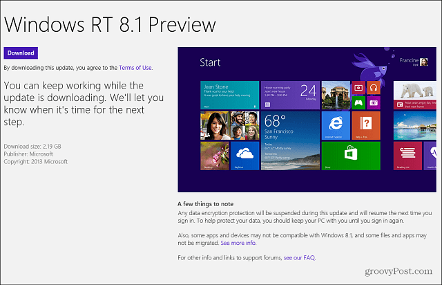Windows RT 8.1 Preview Windows Store
