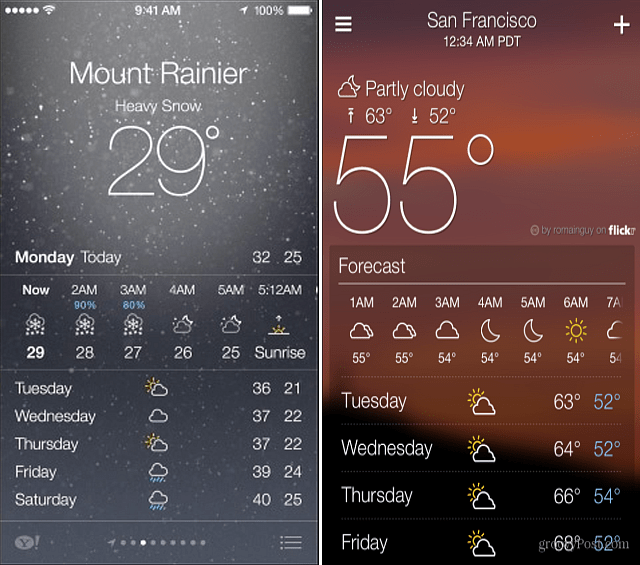 Yahoo and iOS 7 Weather Apps