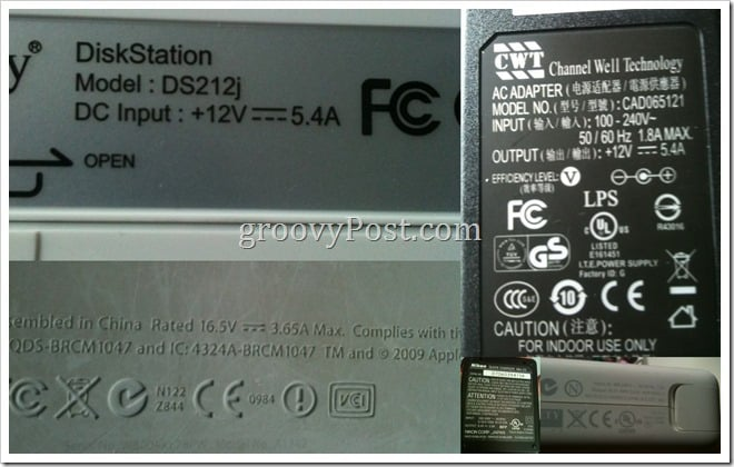 dc adapter label