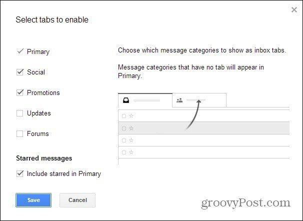 gmail tabs configure inbox