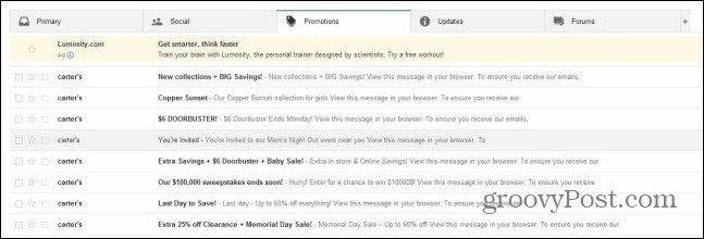 gmail tabs on