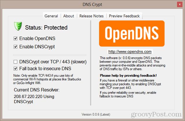DNS Crypt control panel